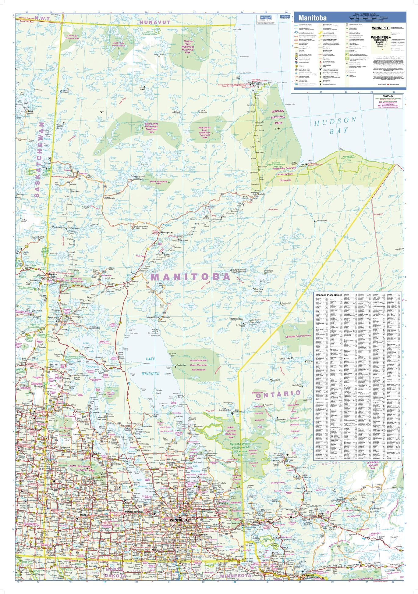 Manitoba Wall Map - small