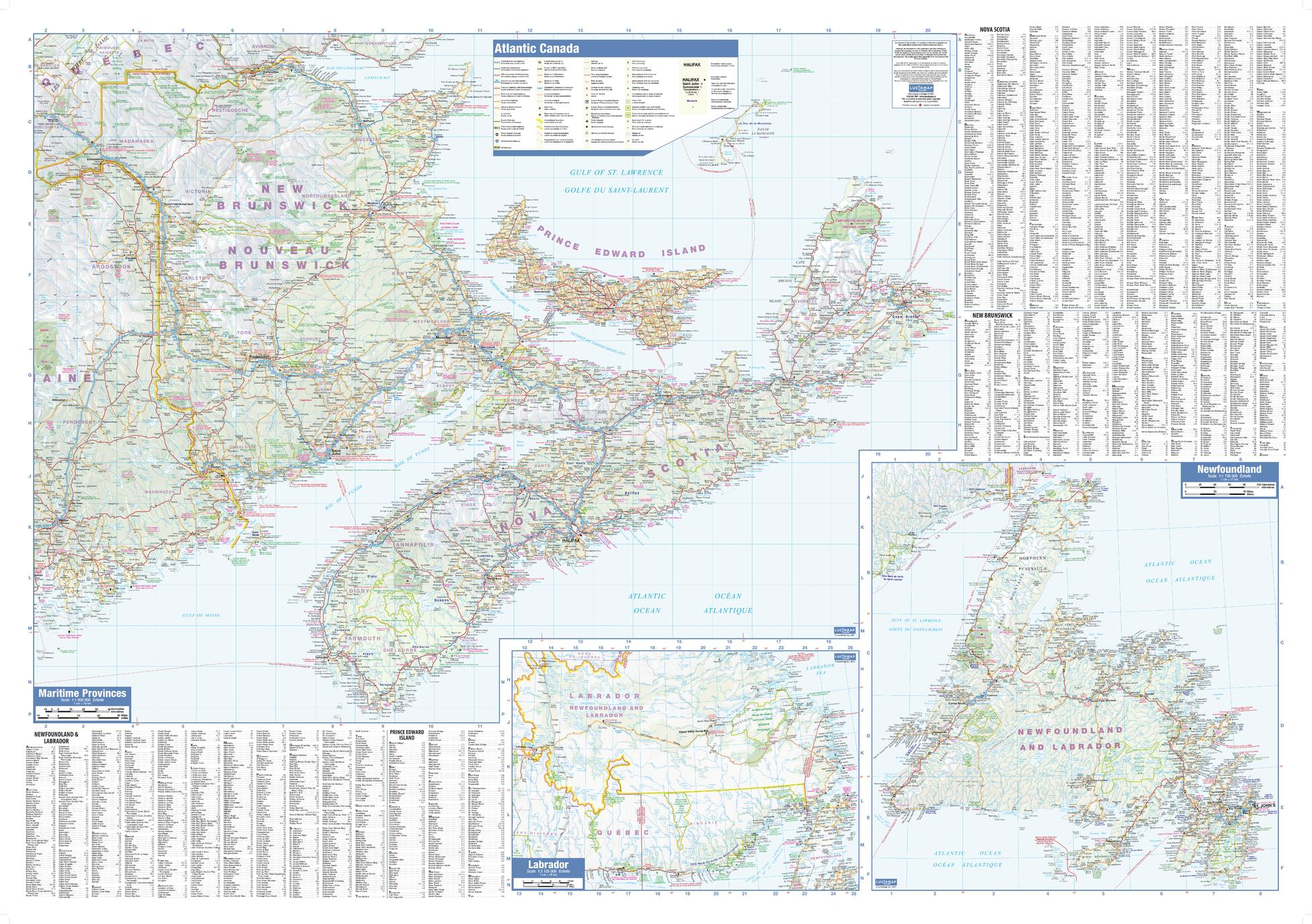 Atlantic Provinces Wall Map - small