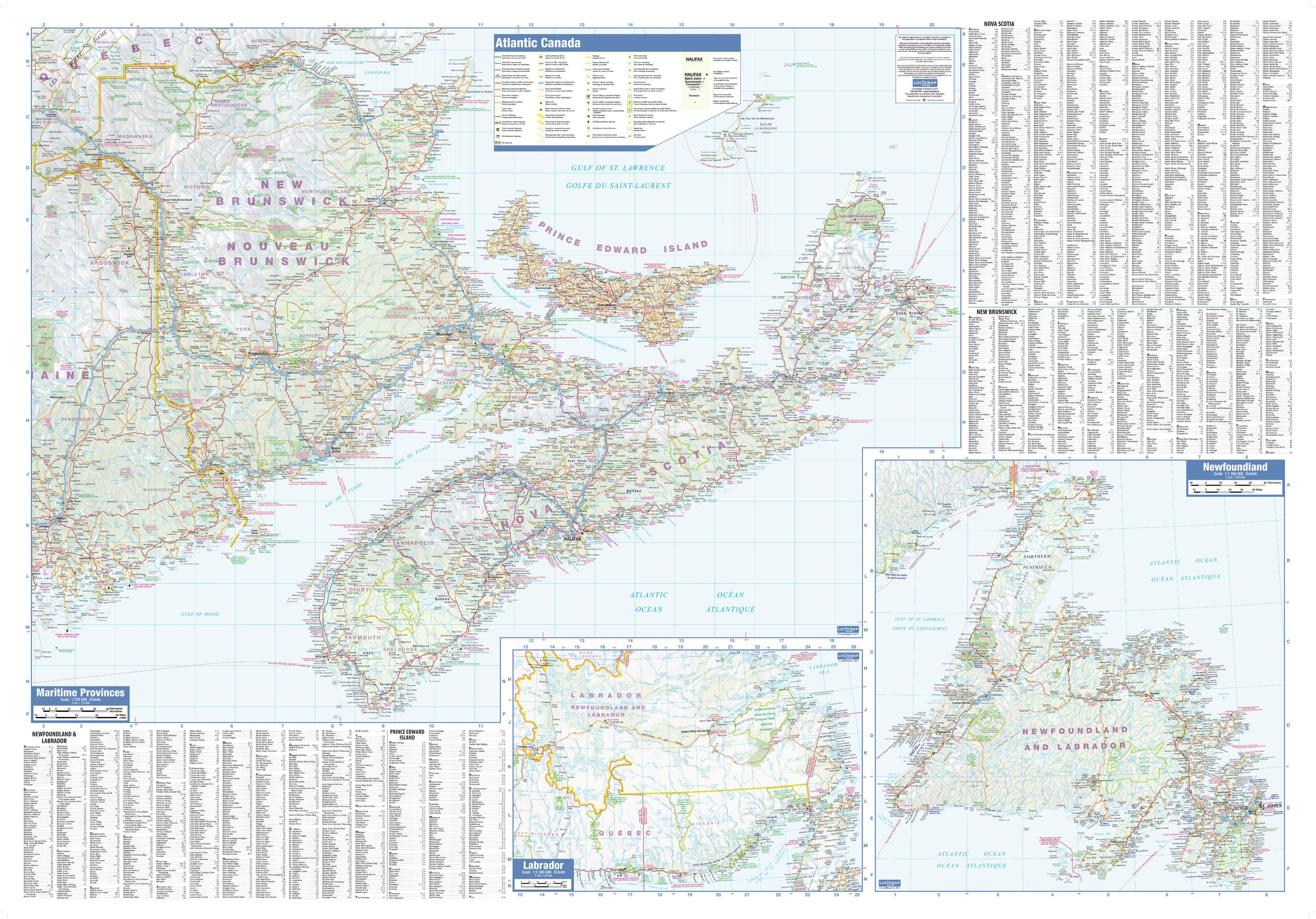 Atlantic Provinces Wall Map - large