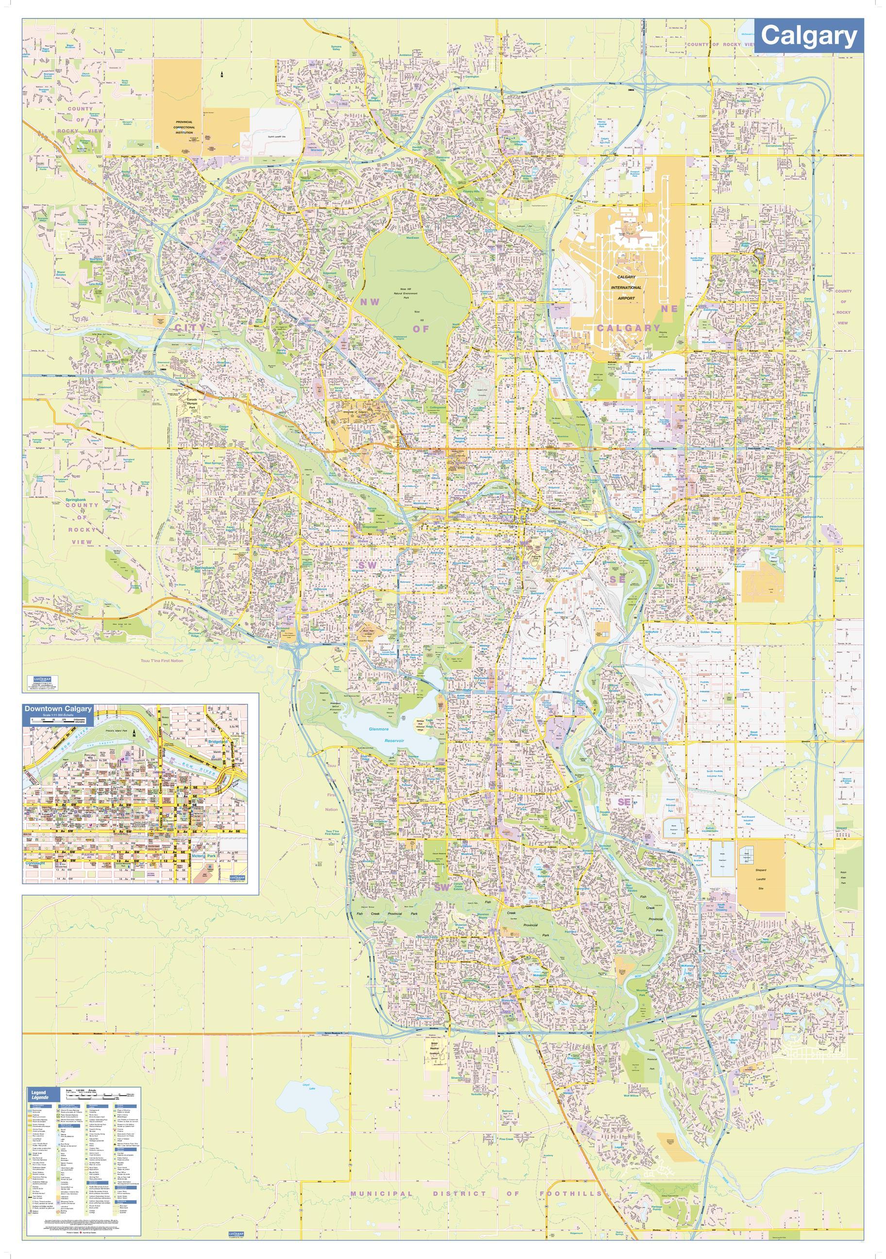 Calgary Wall Map