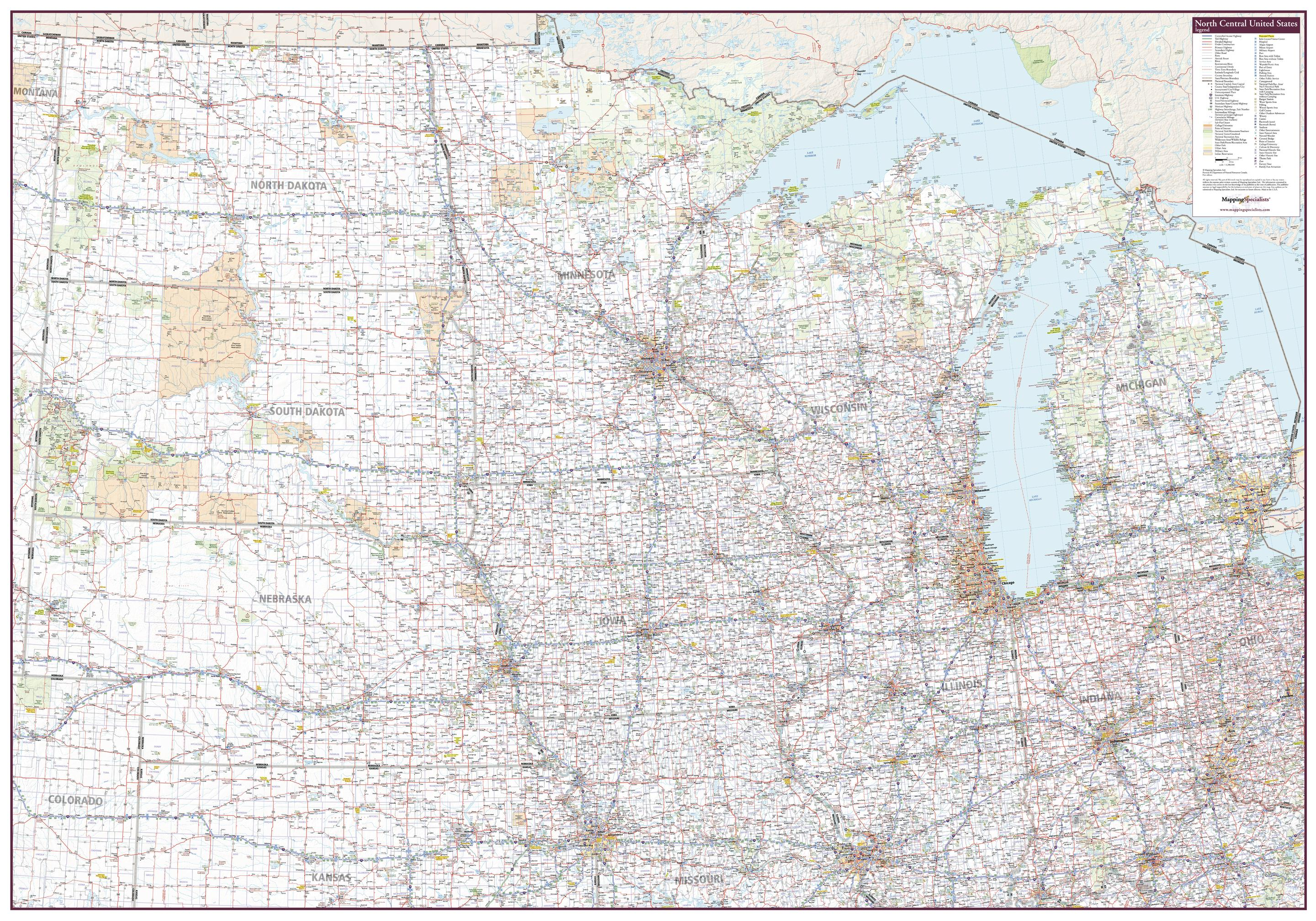 North Central Us Map.North Central United States Wall Map