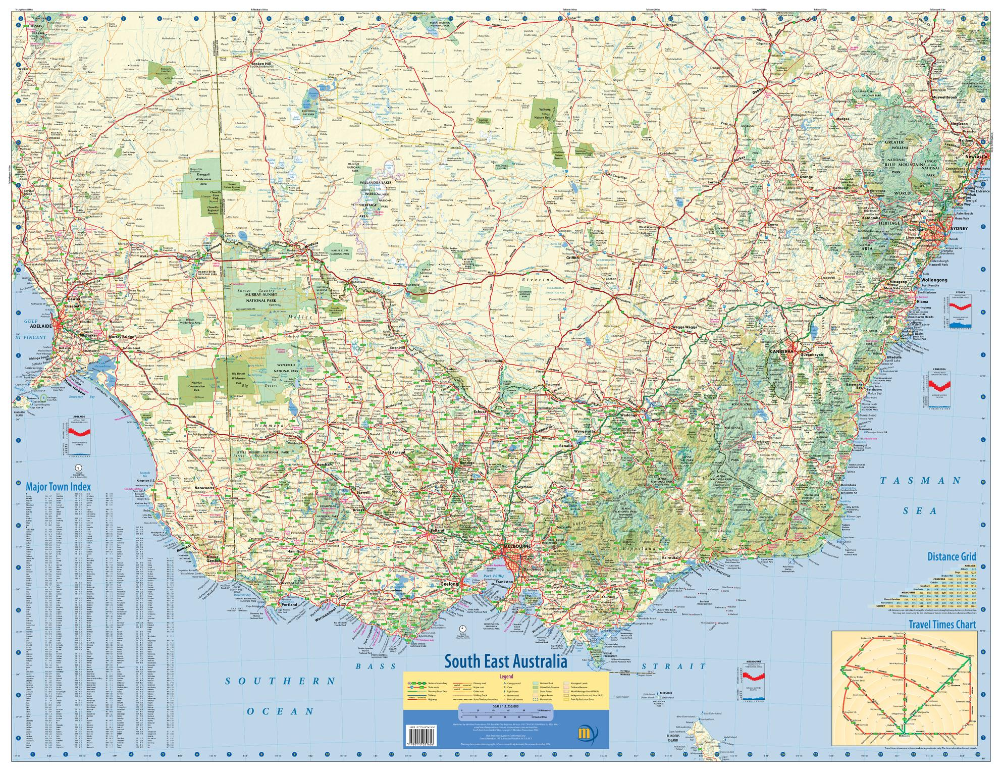 South-East Australia Wall Map