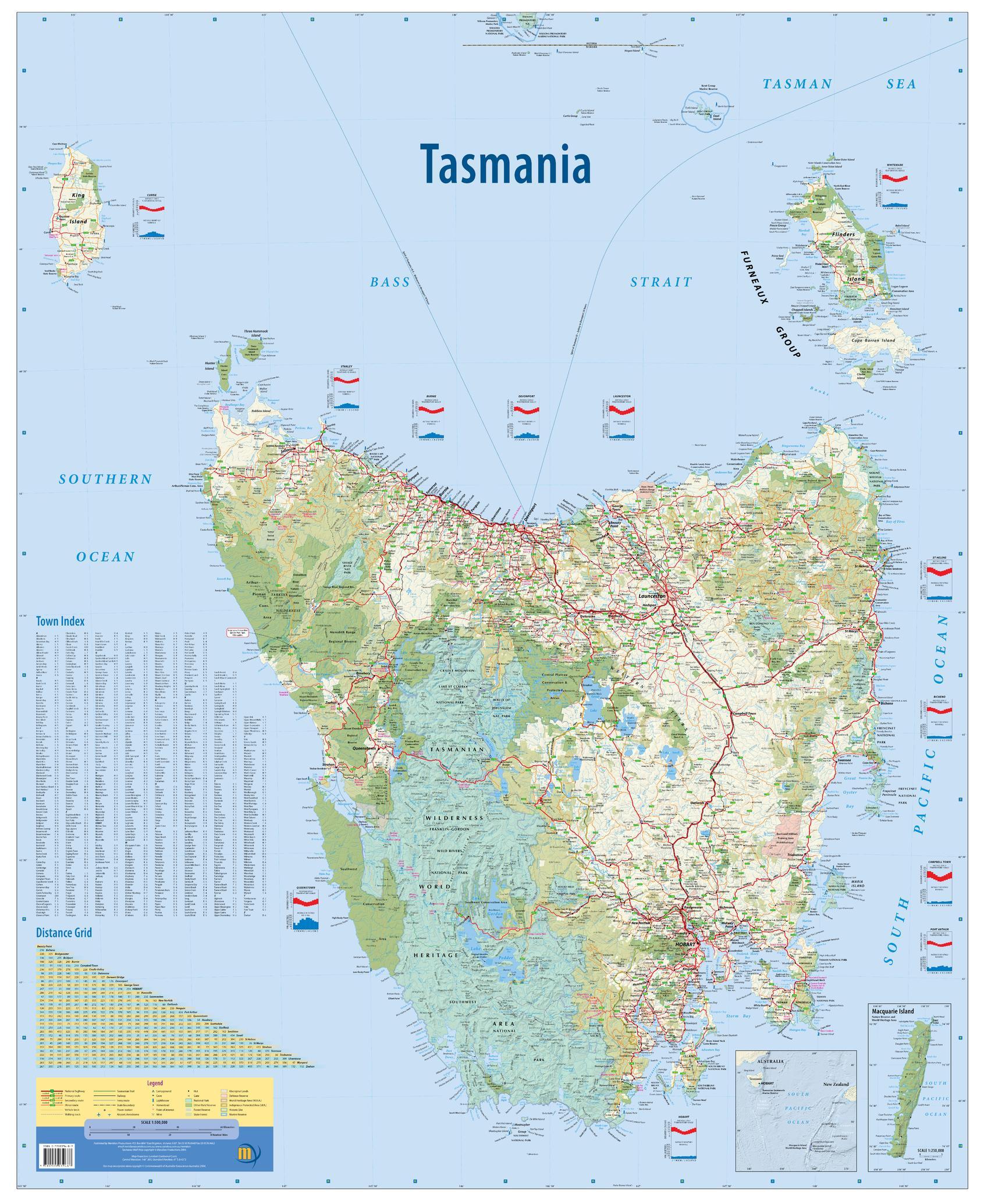 Australia Map Grid.Tasmania Australia State Wall Map