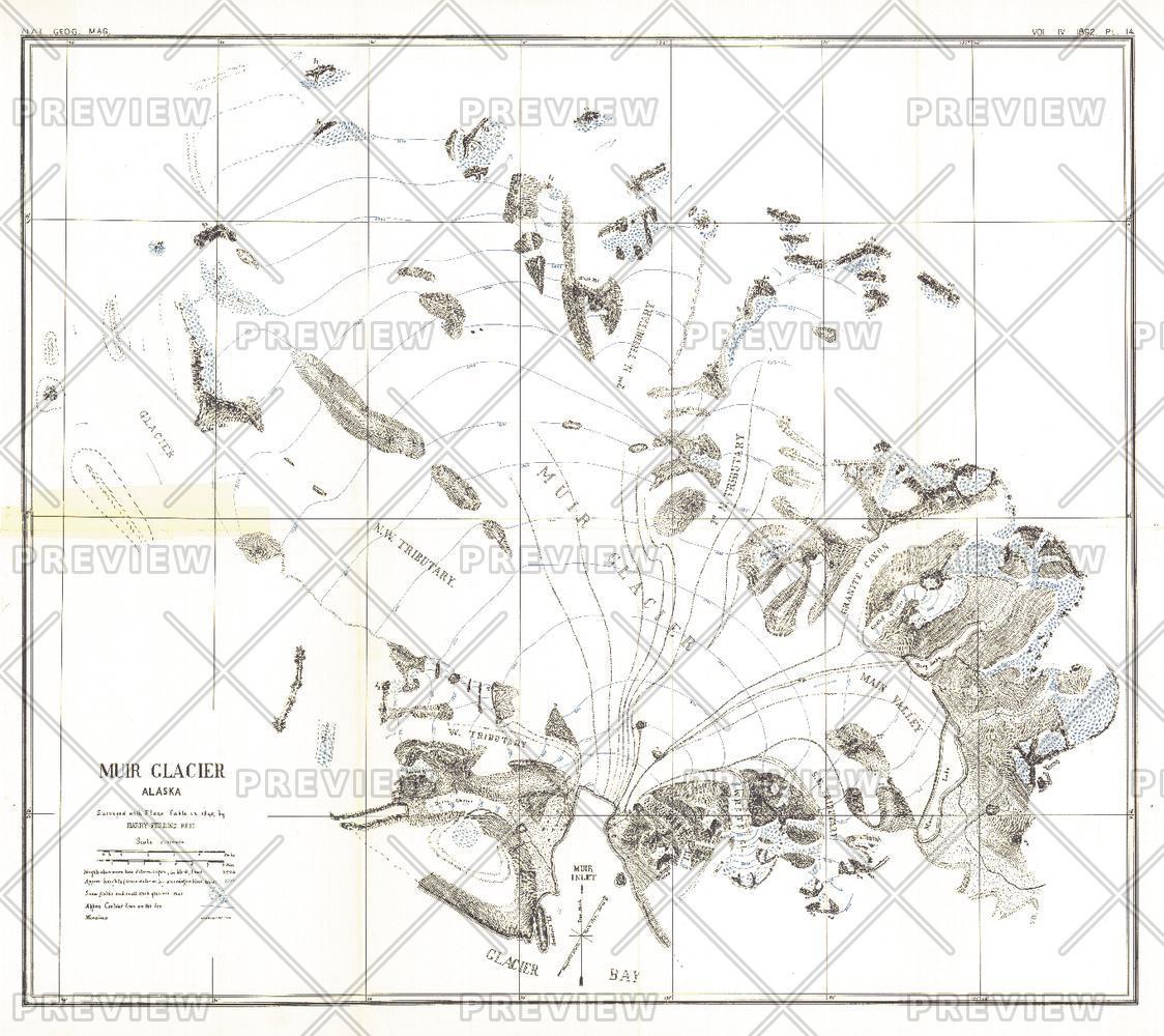 Muir Glacier, Alaska - Published 1892