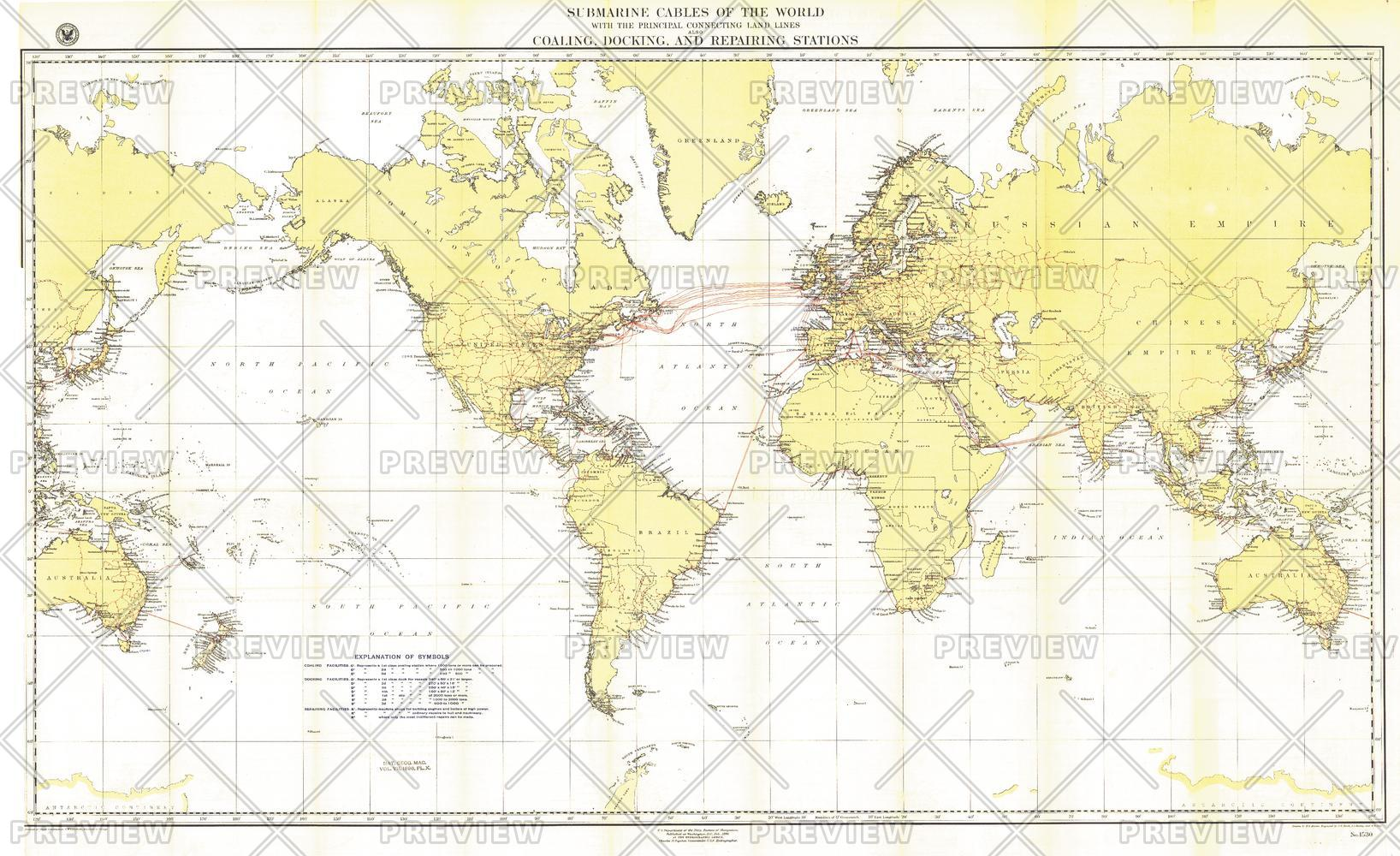 Submarine Cables of the World - Published 1896