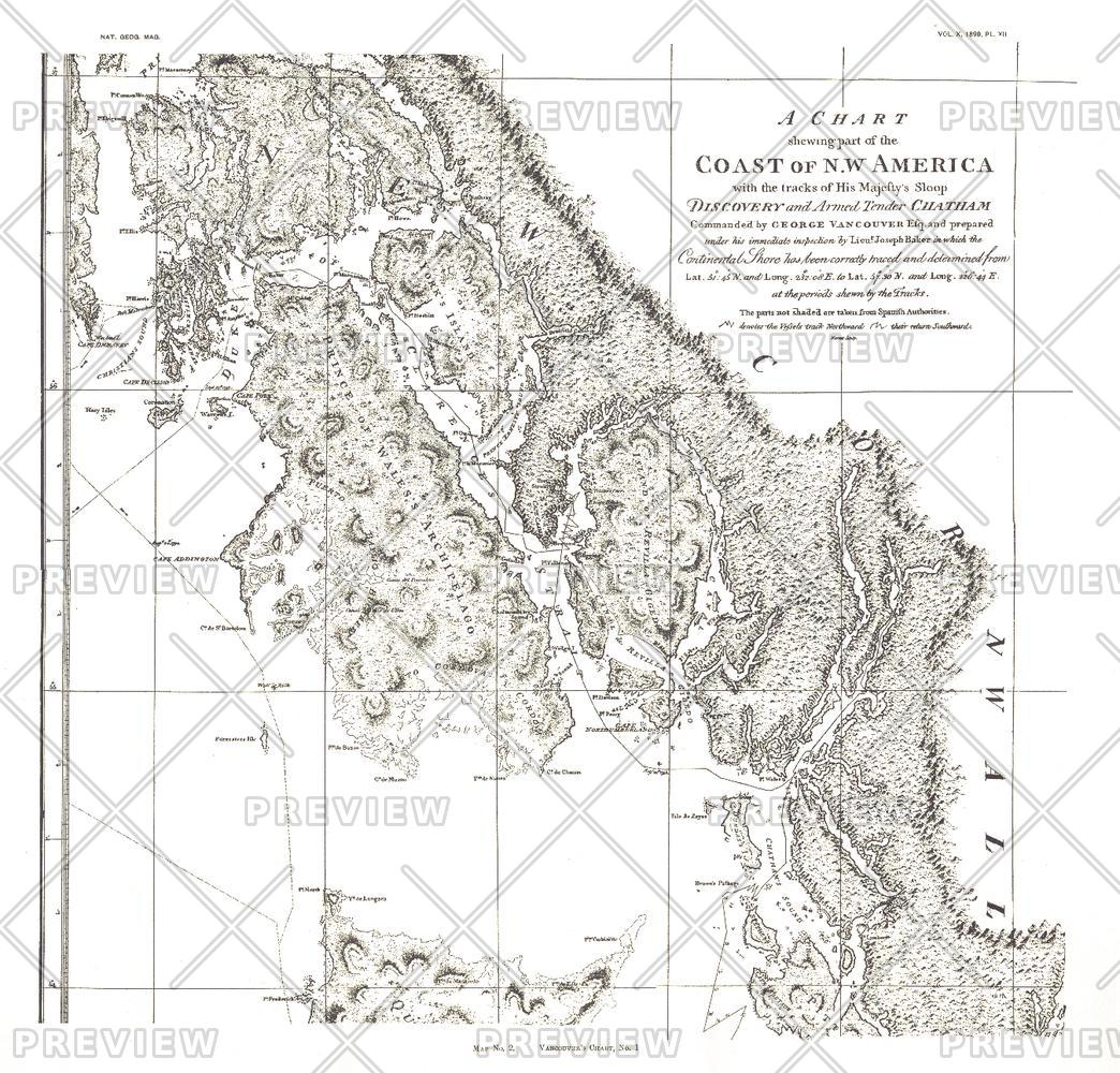 A Chart showing part of the Coast of NW America Side 1 - Published 1899