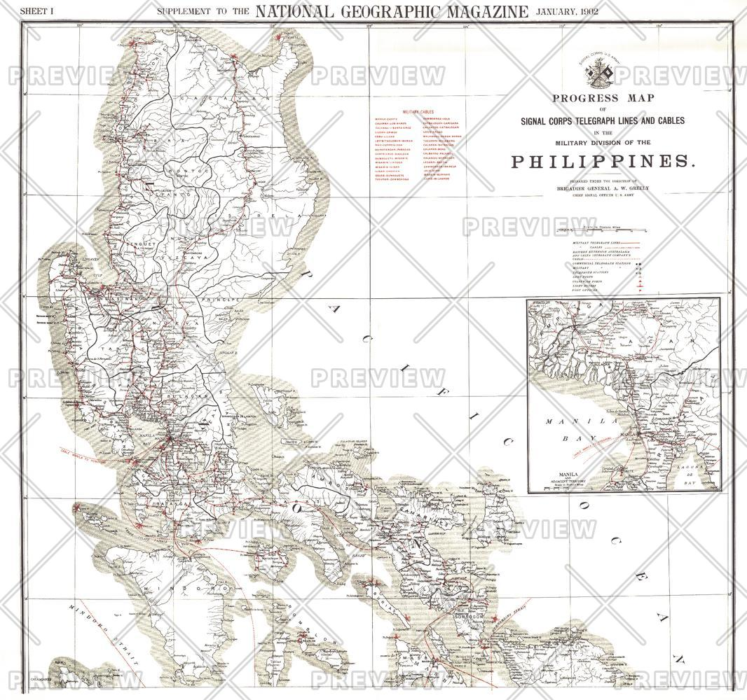 Philippines Military Telegraph Lines North - Published 1902