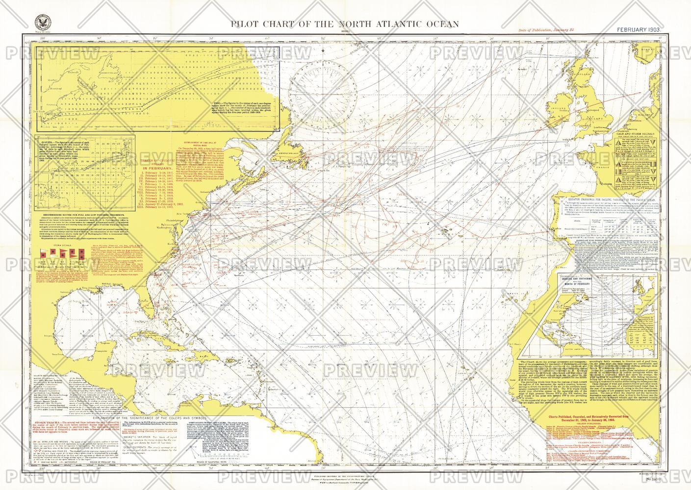 Pilot Chart of the North Atlantic Ocean - Published 1903