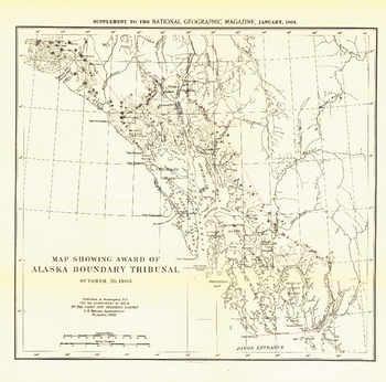 Map Showing Award of Alaska Boundary Tribunal of 1896 - Published 1904