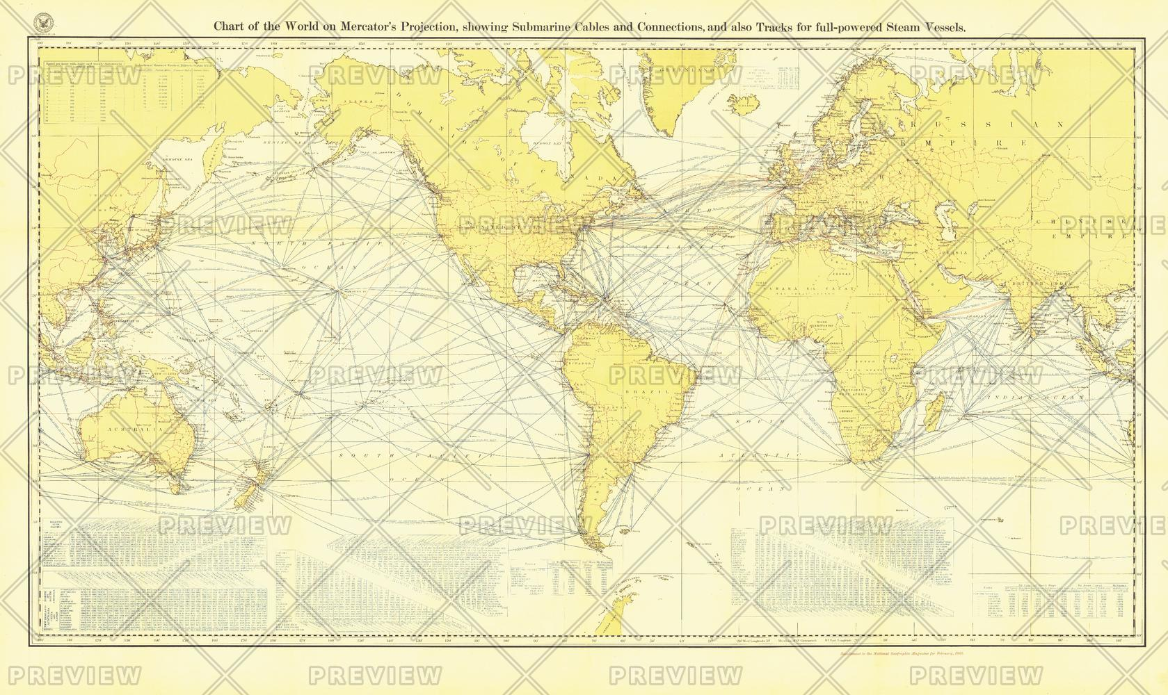 Chart of the World on Mercator's Projection - Published 1905