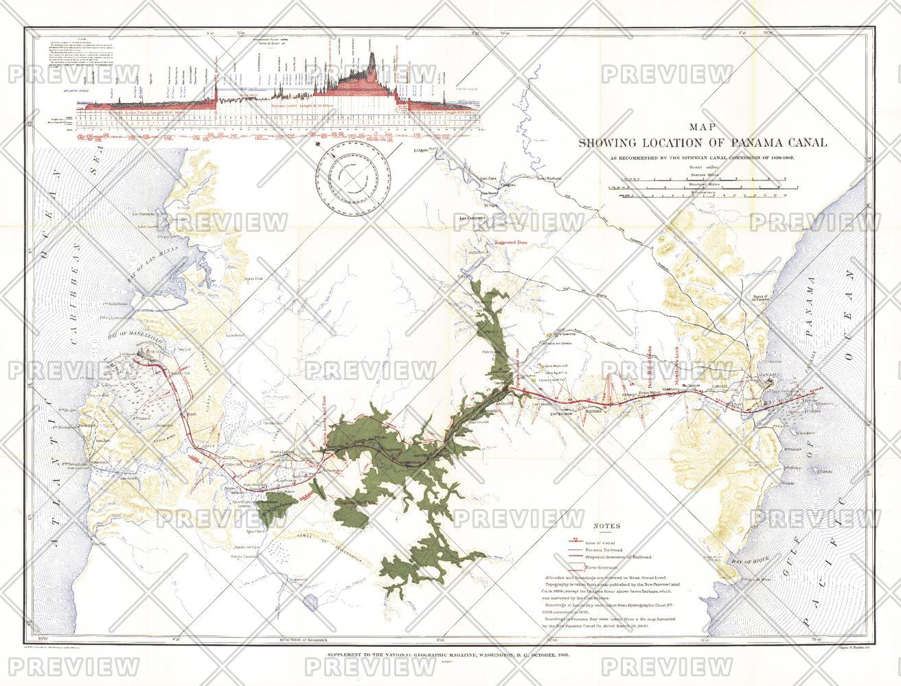Map Showing Location of Panama Canal 1899-1902 - Published 1905