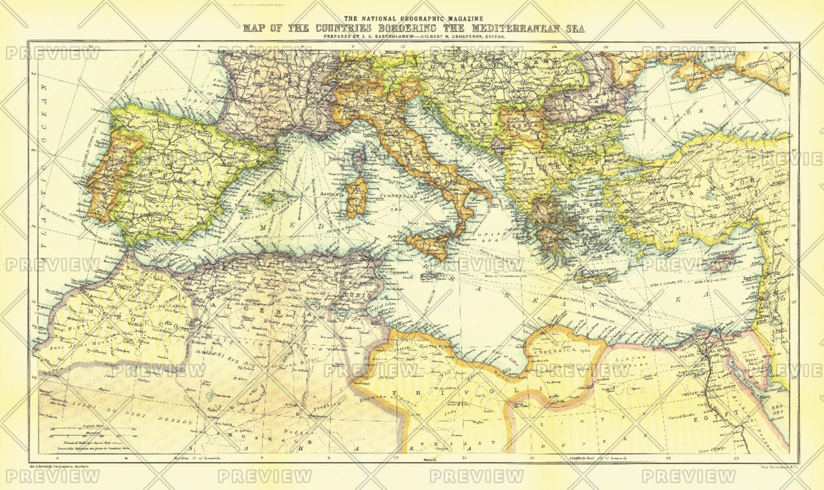 Countries Bordering the Mediterranean Sea - Published 1912
