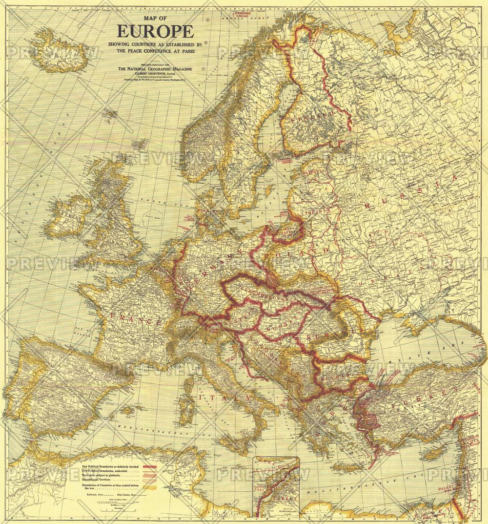 Map of Europe Showing the Countries Established by the Peace Conference of Paris - Published 1921