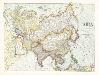 Map of Asia with Europe and a portion of Africa - Published 1921