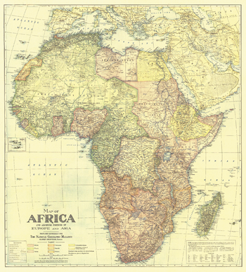 Africa Map with portions of Europe and Asia - Published 1922