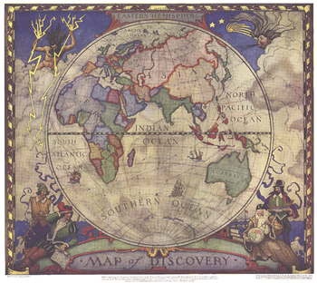 Map of Discovery, Eastern Hemisphere - Published 1928