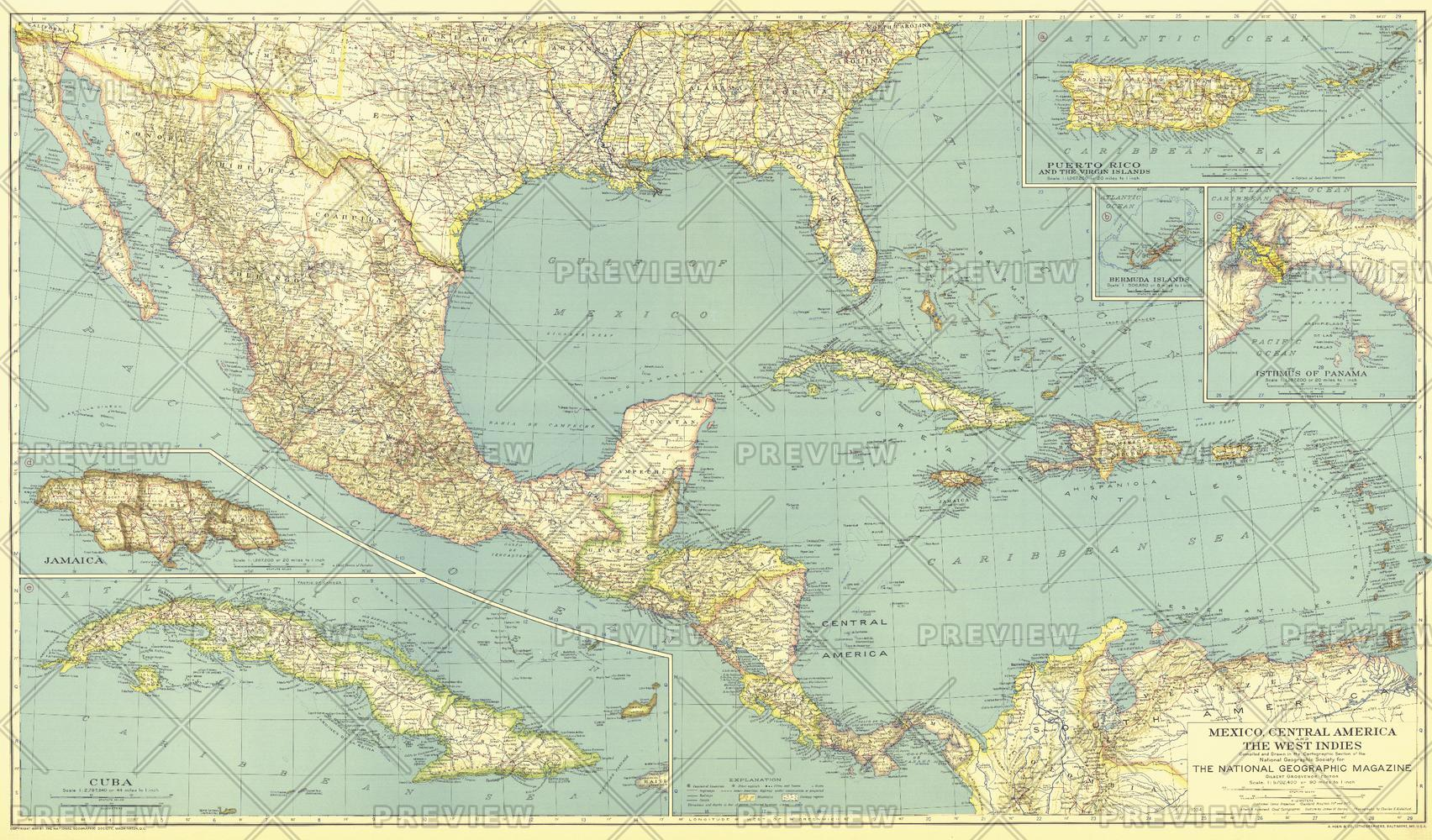 Mexico, Central America and the West Indies  -  Published 1934