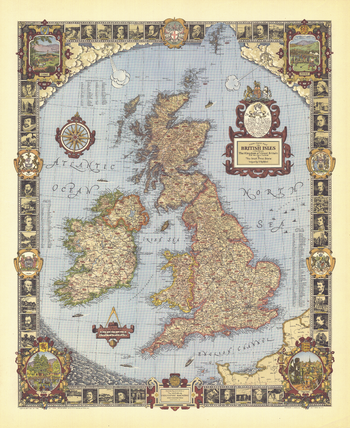 A Modern Pilgrim's Map of the British Isles - Published 1937