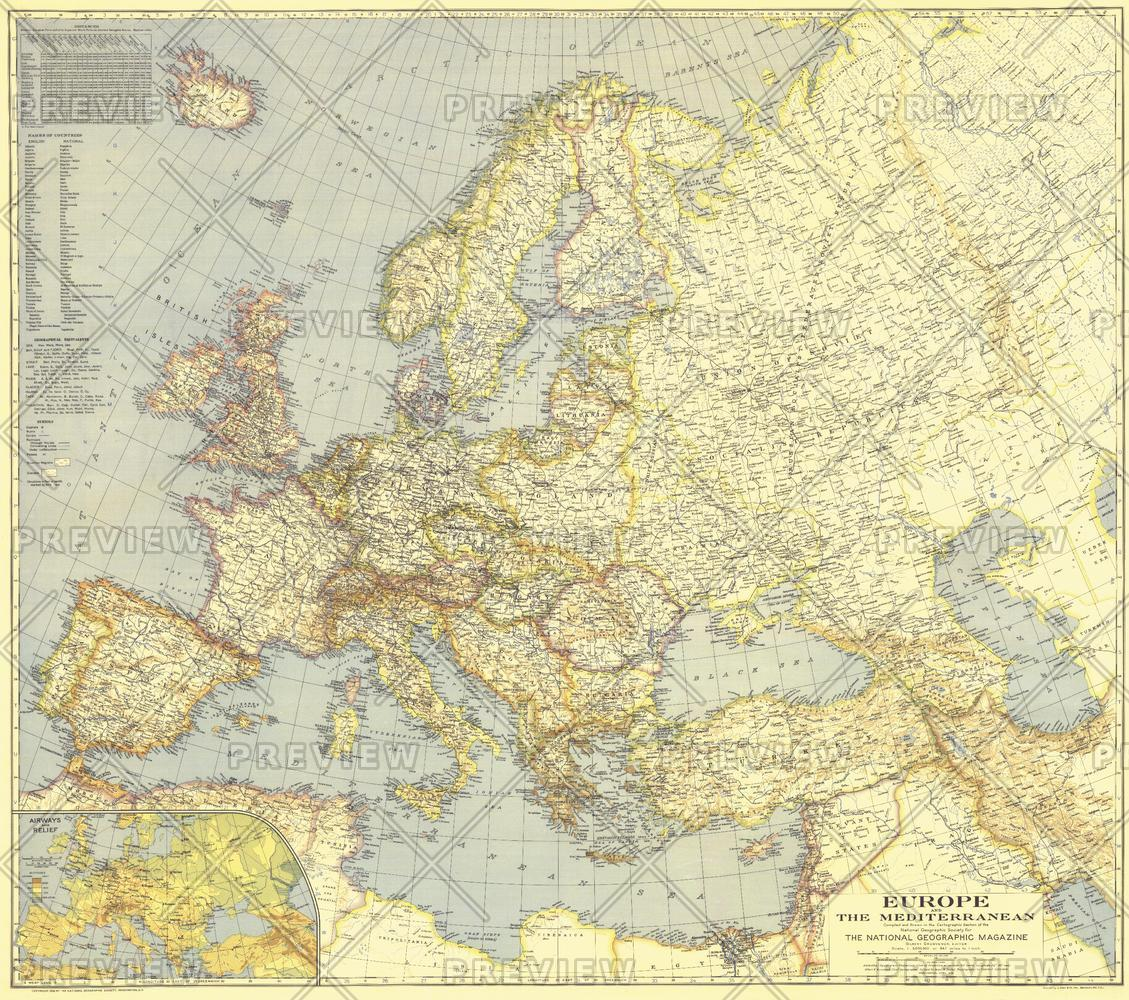 Europe and the Mediterranean  -  Published 1938
