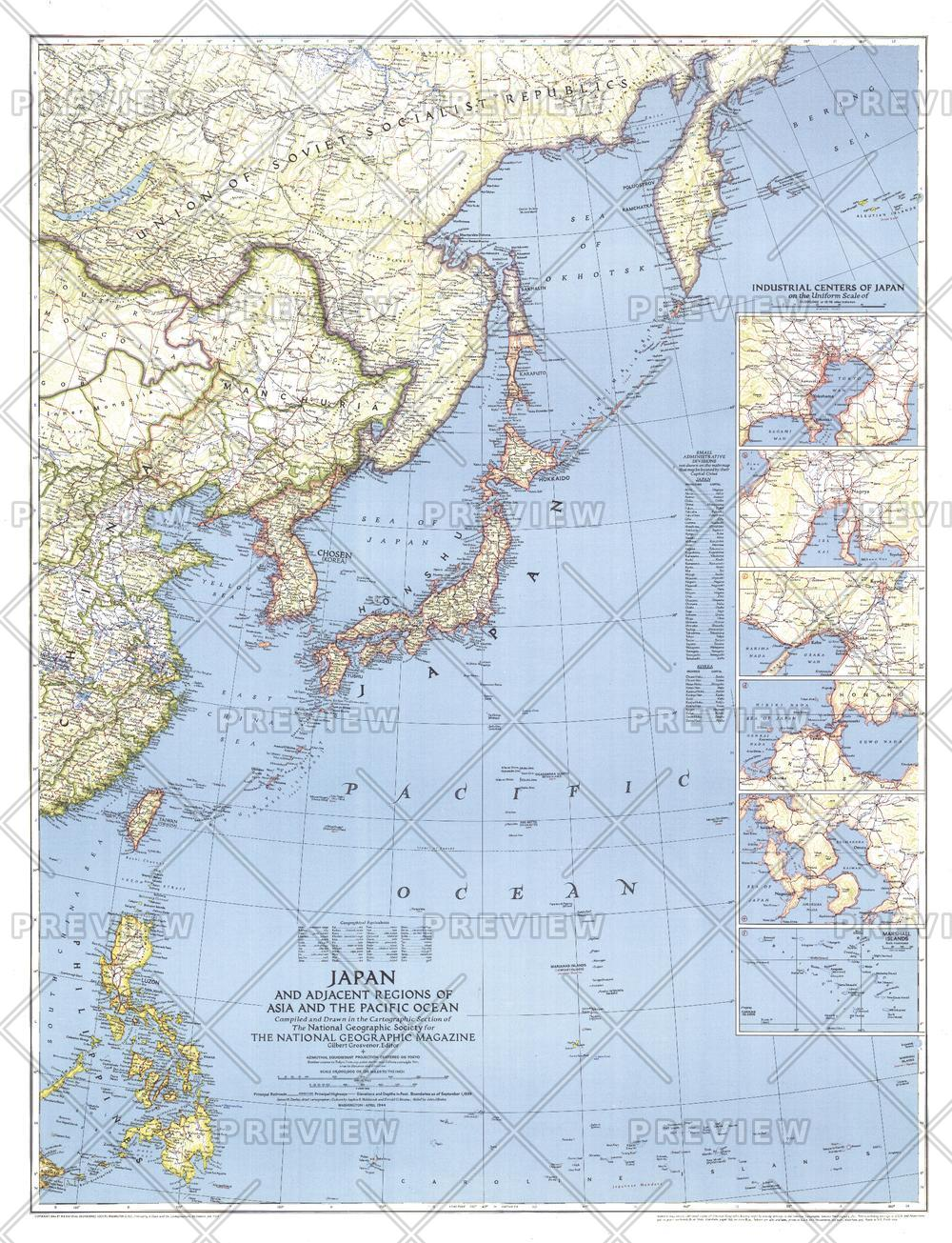 Japan and Adjacent Regions of Asia and the Pacific Ocean  -  Published 1944