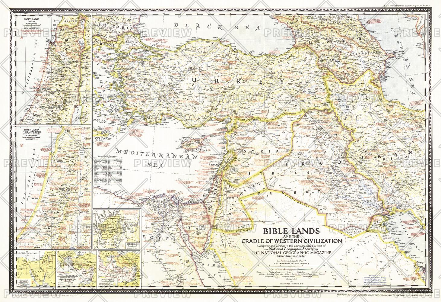 Bible Lands, and the Cradle of Western Civilization  -  Published 1946