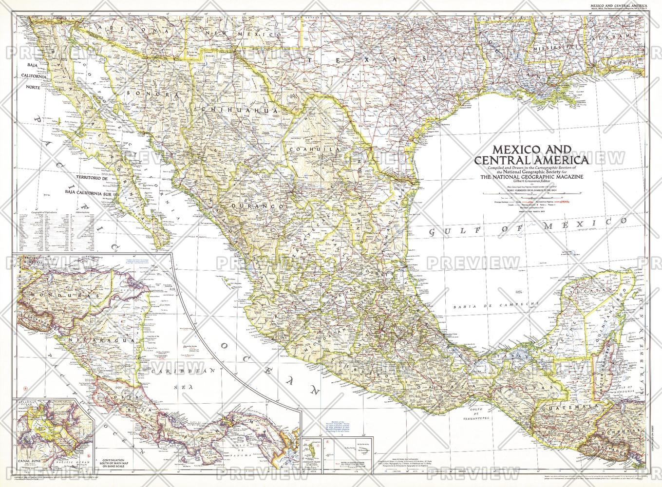 Mexico and Central America  -  Published 1953