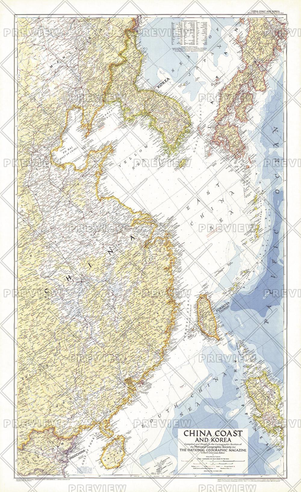 China Coast and Korea  -  Published 1953