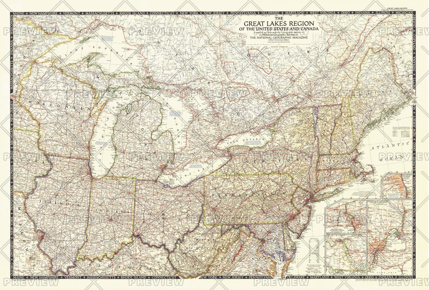 The Great Lakes Region of the United States and Canada - Published 1953