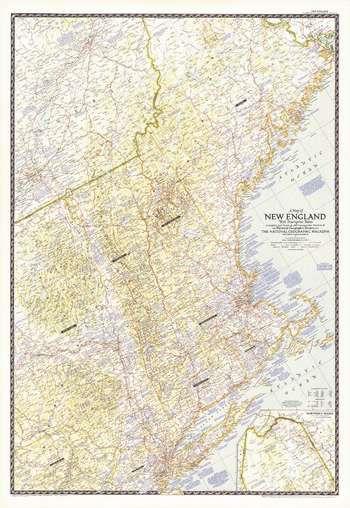 Map of New England with Descriptive Notes - Published 1955