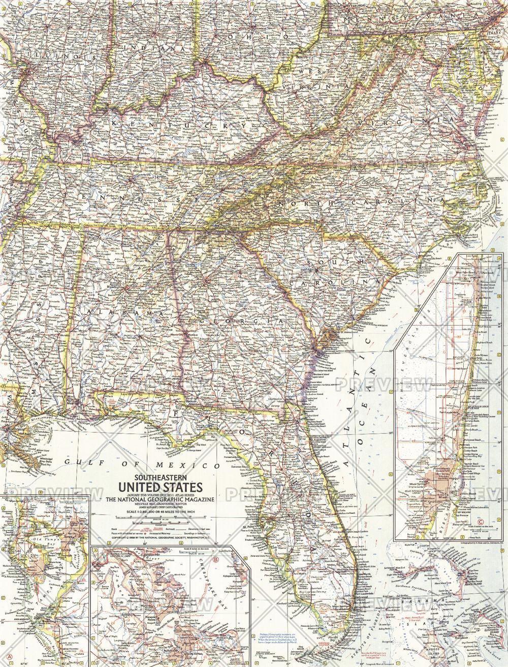 Southeastern United States  -  Published 1958