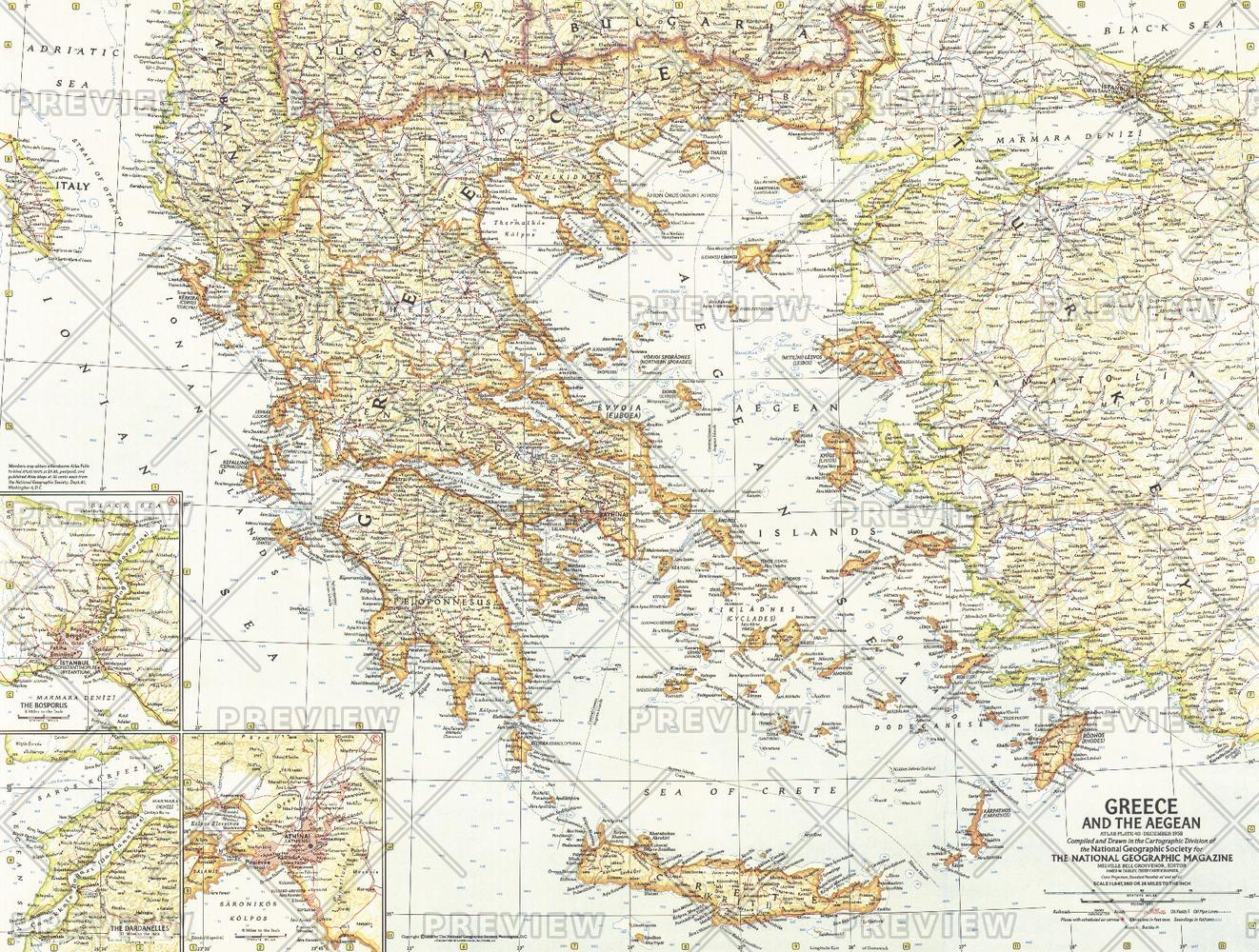 Greece and the Aegean  -  Published 1958