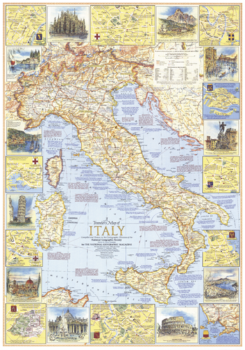 Travelers Map of Italy - Published 1970