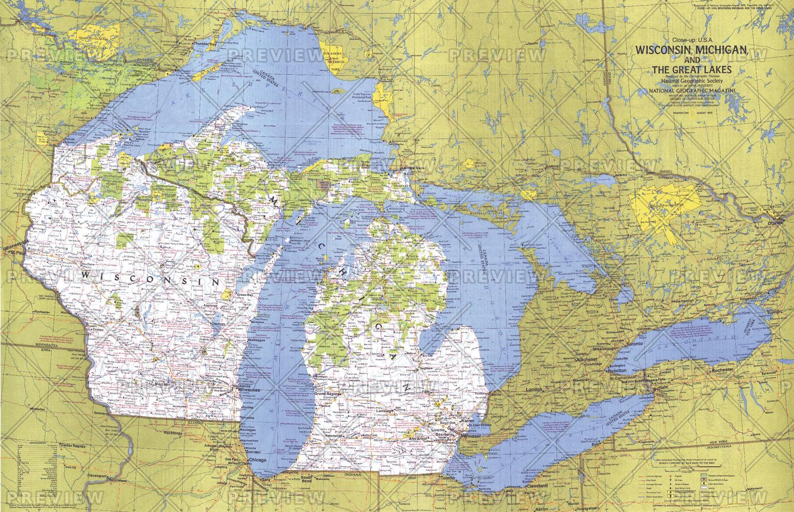 Close-up USA, Wisconsin, Michigan, and the Great Lakes  -  Published 1973