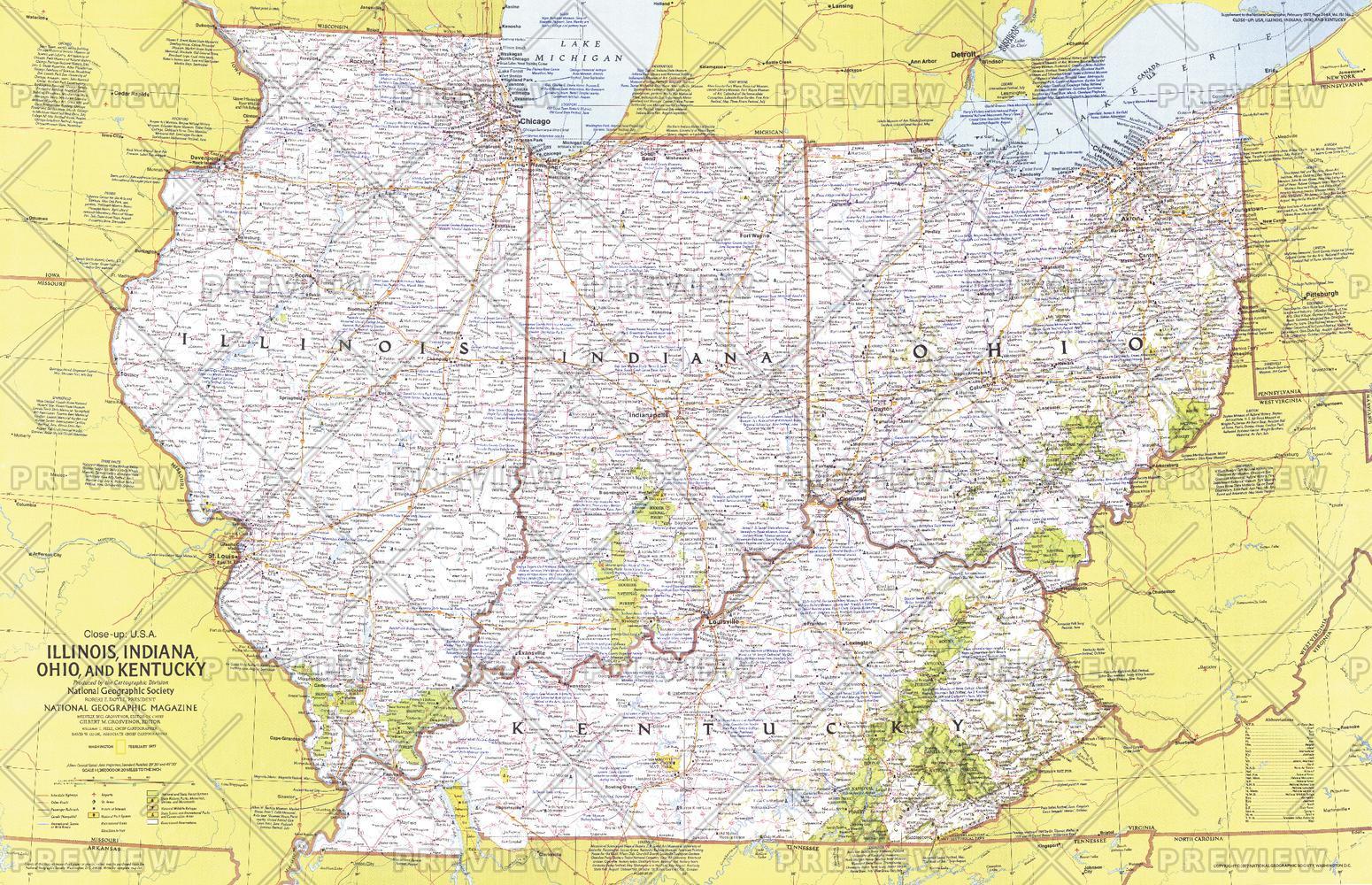 Close Up Usa Illinois Indiana Ohio Kentucky Published 1977