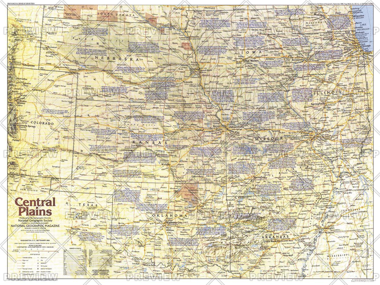 Central Plains Map Side 1 - Published 1985