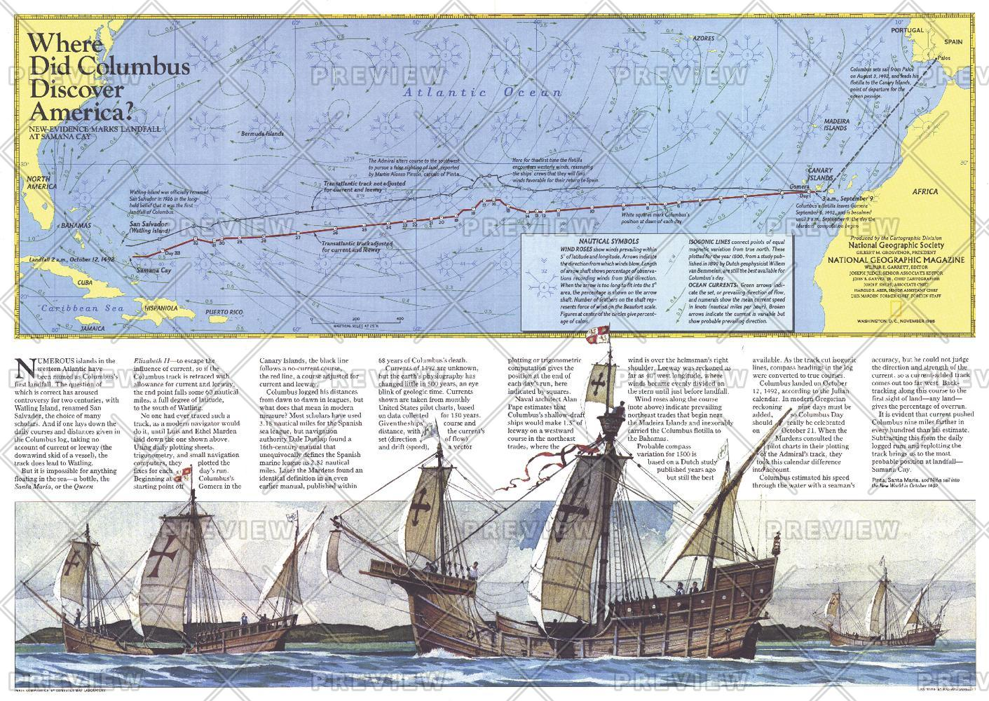 Where Did Columbus Discover America?  -  Published 1986