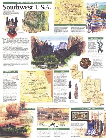 Southwest, USA Map, Land of Open Sky - Published 1992