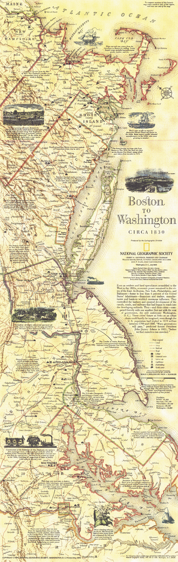 Boston To Washington Circa 1830  -  Published 1830