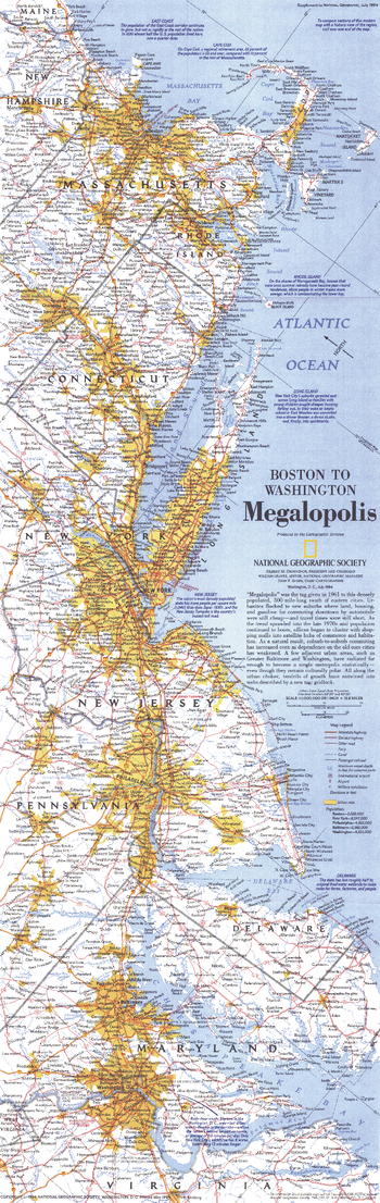 Boston To Washington Megalopolis  -  Published 1994