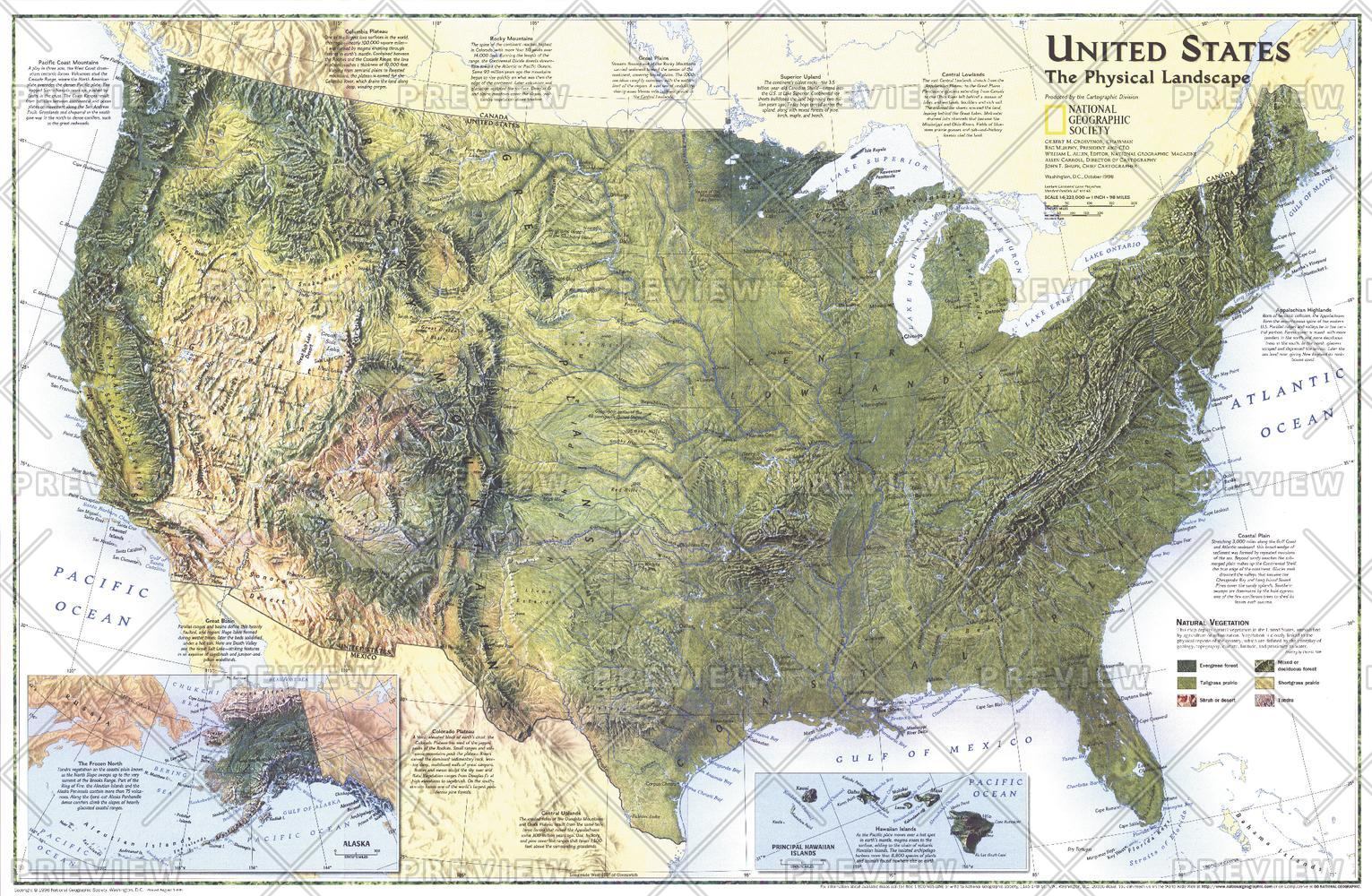 United States, the Physical Landscape  -  Published 1996