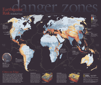 National geographic historical maps world wall maps maps danger zones earthquake risk a global view published 2006 gumiabroncs