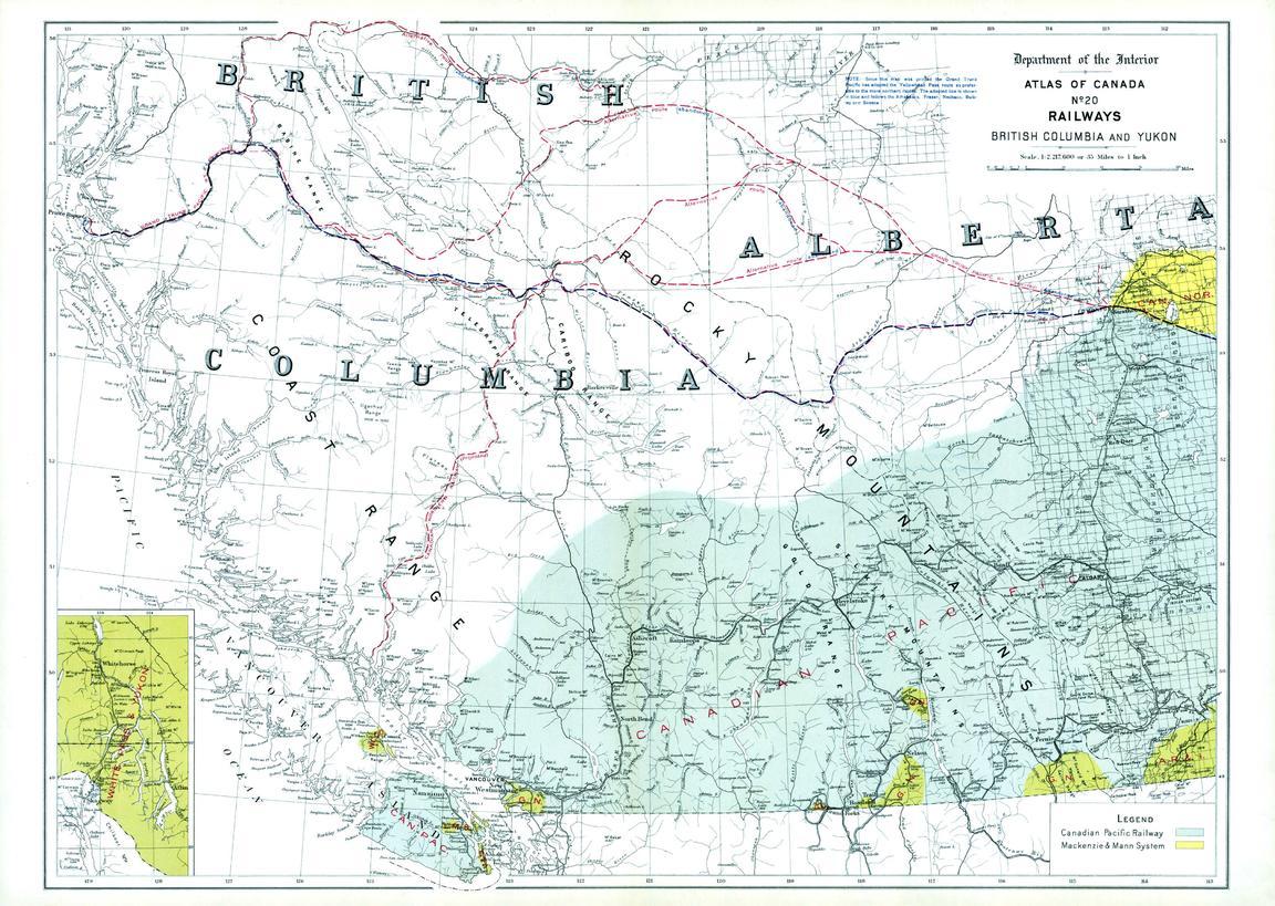 Railways British Columbia and Yukon (1906) on