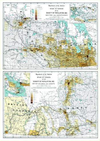 Density of Population, Western Canada (1906)