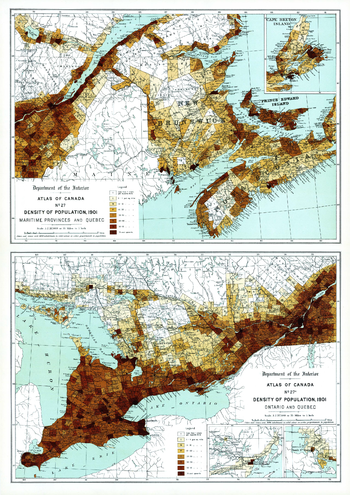 Density of Population Maritime Provinces, Quebec, Ontario (1906)