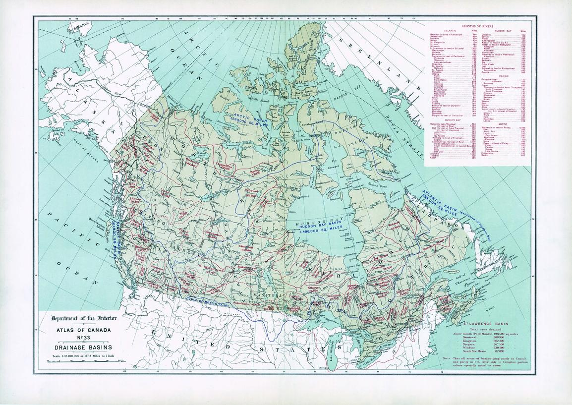 only the canadian drainage area is indicated on the map for basins that lie partly in the united states there is also a table listing the lengths of major