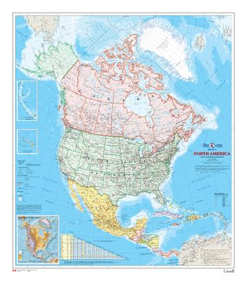 North America Wall Map - Atlas of Canada