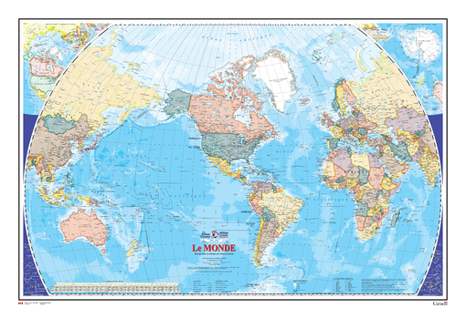 Le monde - Carte Murale - L'Atlas du Canada