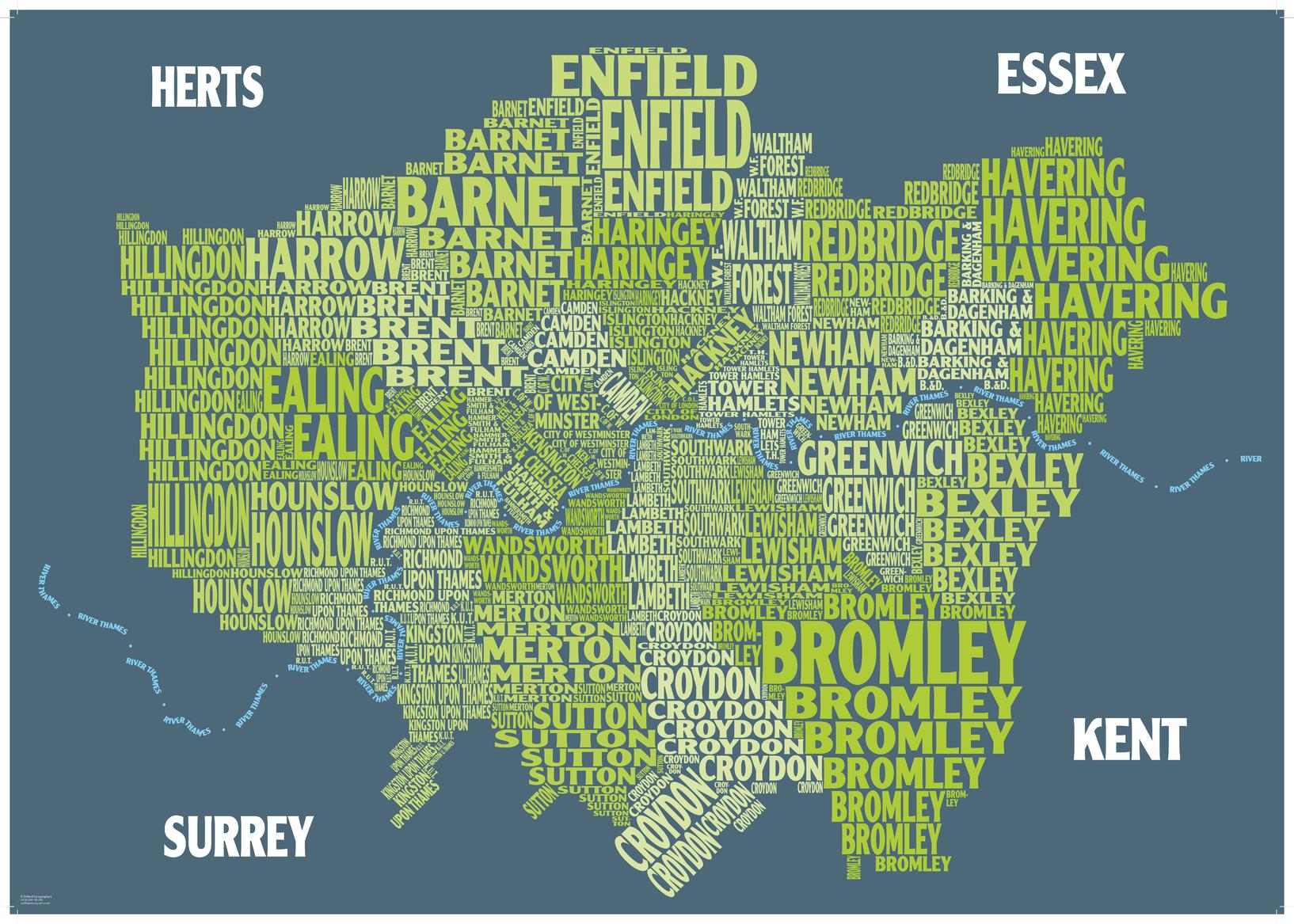 graphic map london boroughs green background