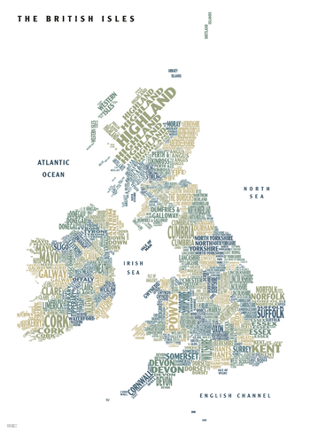 Graphic Map UK - counties, white background