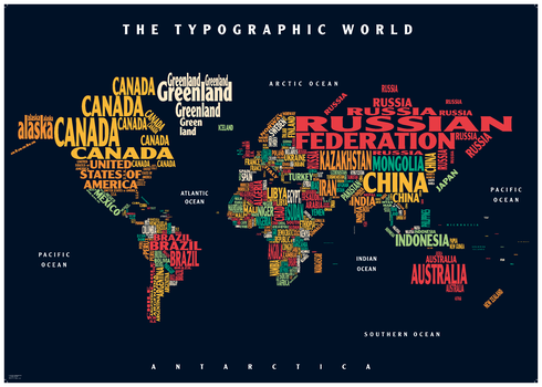 Graphic Map World - colours, black background